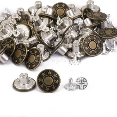50 sets Antique Bronze NO SEW Hammer On Denim Jeans Tack STAR Buttons 17mm