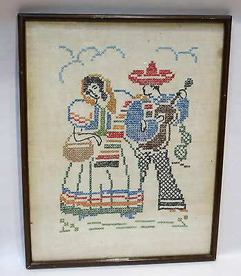 Gorgeous Vintage Framed Cross Stitch Picture 1960