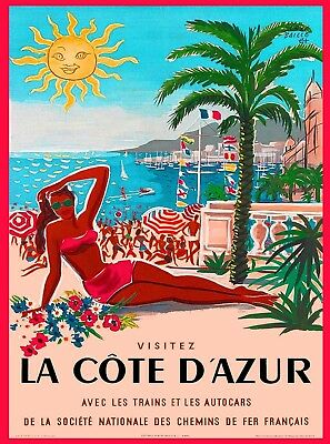 La Cote D/'Azur Vintage French Riviera Travel Poster Canvas Giclee 24x34 in.