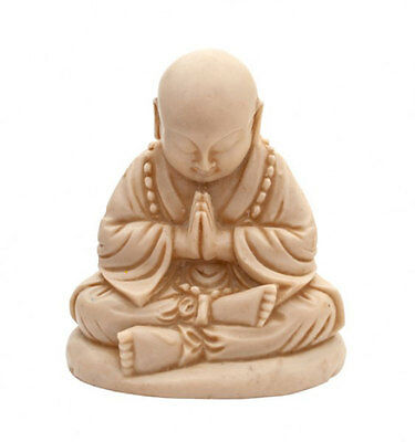 Small Sitting Buddha Stature Praying Ornament 11cm Home Gift Cream Figure New