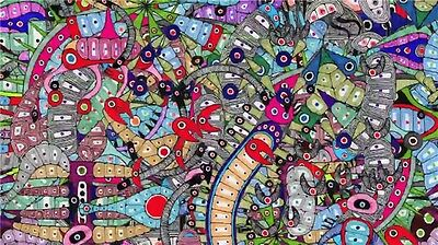 """Trippy Psychedelic Art Fabric Poster 21 x 13/"""" T76"""