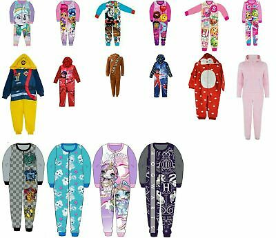 Girls Boys pyjamas 1onesie all in one fleece jersey nightwear sleepsuit