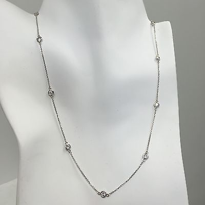 1CT Diamond By The Yard Station Necklace Natural F/ VS/ Tennis Cluster Round 14k