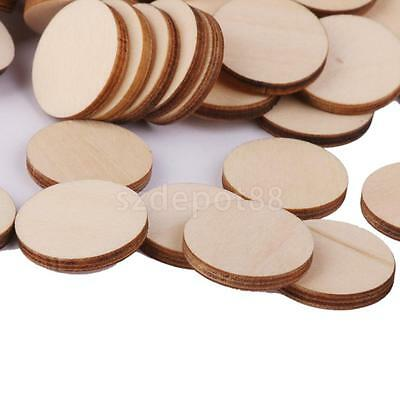 100 Unfinished Wooden Round Discs Embellishments DIY Rustic Art Crafts 20mm