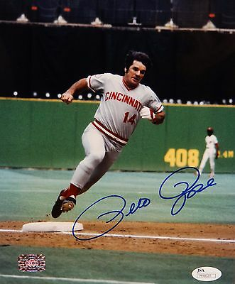 Pete Rose Autographed 8x10 Cincinnati Reds Running Bases Photo with JSA Auth