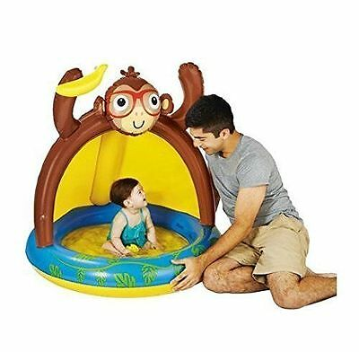 Baby Pool Inflatable Blow Up Monkey Banana with Sun Shade by Play Day