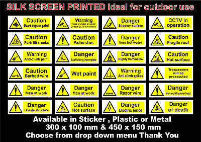 Hazard Signs / Stickers - All Sizes & Materials, CCTV, FLT, Hot Surface, Dogs