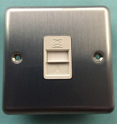 MK Telephone Socket Outlet Single Master BT Approved 432MCO Brush Chrome