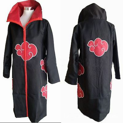 UK STOCK Naruto Akatsuki Itachi Cloak Jacket Cosplay Costume Unisex