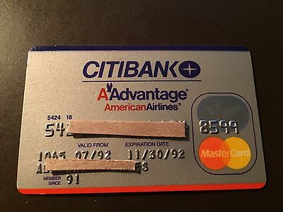 American Airlines 1992 Vintage Collectors Citibank MasterCard Credit Card