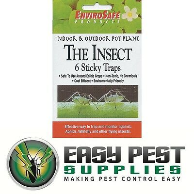 ENVIROSAFE POT PLANT INSECT TRAP (6 x Sticky Traps) Indoor Outdoor Use Non Toxic