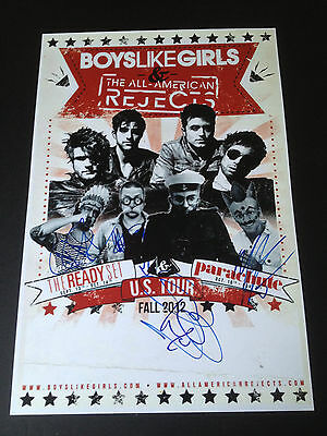 ALL AMERICAN REJECTS BAND SIGNED 12x18 TOUR POSTER TYSON RITTER BOYS LIKE GIRLS