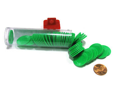 """Set of 50 7/8"""" Easy Stacking Plastic Mini Playing Poker Chips - Green"""