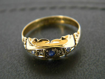 ANTIQUE VICTORIAN 18CT GOLD SAPPHIRE AND DIAMOND RING! YEAR 1867 or 1917
