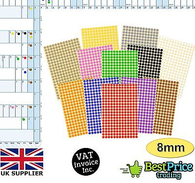Year Wall Planner Calendar Holiday Multi-Coloured 8mm DOT STICKERS *Diary