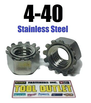 (Qty 100) 4-40 Kep Hex Star Lock Nuts Stainless Steel 18-8 / 304