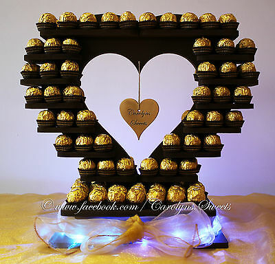 small ferrero rocher heart  wedding  display stand cake sweets UNPAINTED