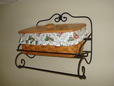 Longaberger Kitchen/Bath Basket with Lid & Wrought Iron Wall Display Towel Rack