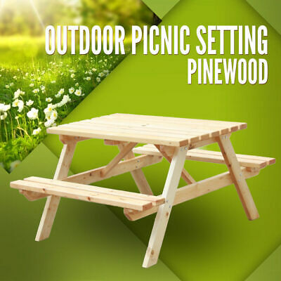 Picnic Table Pinewood Picnic Setting Outdoor BBQ Garden Bench Wooden Set Timber