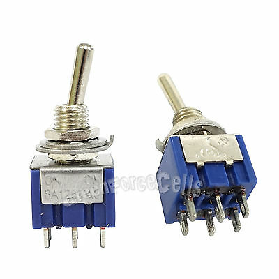 2 pcs 6 Pin DPDT ON-ON 2 Position 6A 250VAC Mini Toggle Switches MTS-202