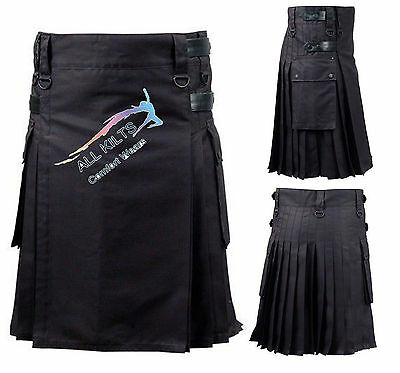 "Men's Black Leather Straps Utility Kilt 30"" To 50"" And Custom Sizes"