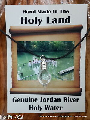 Blessed Jordan river holy water sealed glass charm pendant  made in Israel