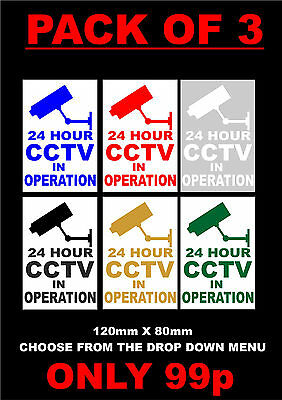 Pack Of 3 24 Hour CCTV In Operation Stickers 120x80mm - All Colours Security