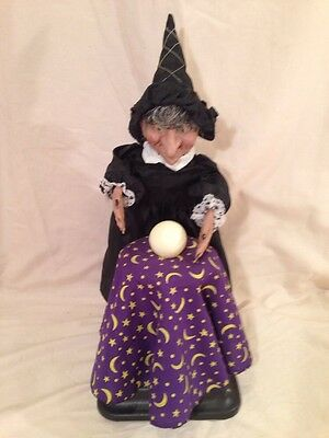 """Vintage 1980's Witch w/ Crystal Ball Lights up and Makes Sound Very Good 19"""""""