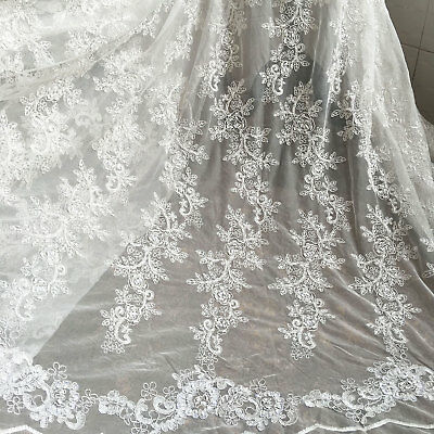"Ivory Embroidery Beaded Bridal Lace Fabric 51"" Wide for Wedding Dress 0.5 Yard"