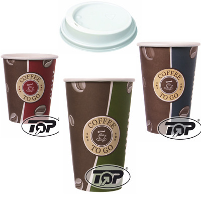 100 Hartpapier Coffee to go Becher 0,2/0,3/0,4 Pappbecher Kaffeebecher + Deckel