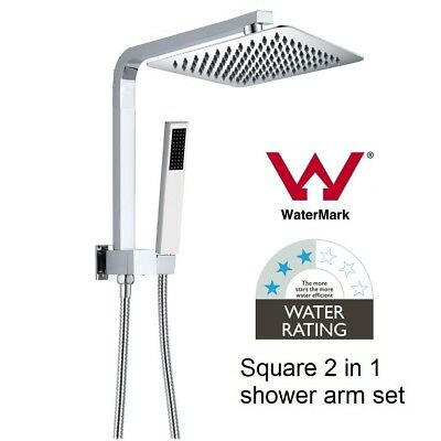 WELS Watermark Brass Chrome Combination 2 in 1 square rain hand shower twin set