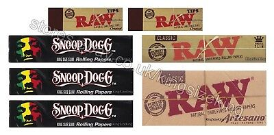 Raw King Size Rolling Papers And Snoop Dogg And Wiz Khalifa And Tips Set