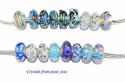 Shades of Blue - Murano Glass Charm Bead Big Hole, fit European Bracelet