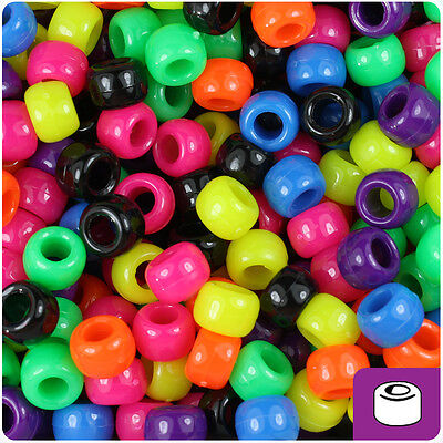 500 Hot Kandi Rave Mixed Neon Bright 9x6mm Barrel Pony Beads Made in the USA