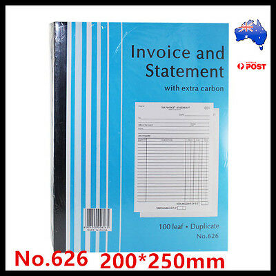 Invoice and Statement Book No.626 Extra Carbon Duplicate 100 Page 200x250mm