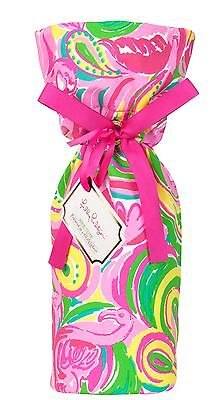 LILLY PULITZER Wine Tote ALL NIGHTER Pink Flaming Gold Logo Hostess Party Gift