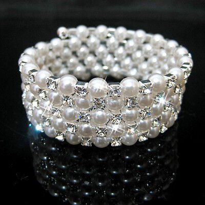 Bling Crystal Five Rows Rhinestone Pearls Wedding Crystal Accessory Bracelet