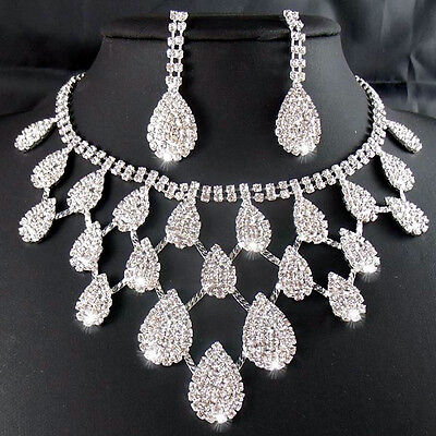 Bling Bridesmaid Rhinestone Necklaces+Earring Hair Stick Bride Jewelry Sets