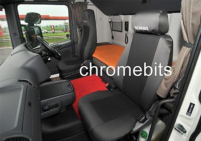 2/pair Black Fabric Tailored Seat Covers For Scania G P R Series Rhd New