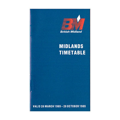British Midland Airways - Airline Timetable - 26 March to 28 October 1989