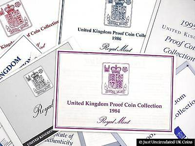 Royal Mint 1983-1999 Proof Set Certificate of Authenticity Documents
