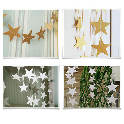 3M X Silver/Gold Star Shaped Paper  Bunting Drop for Party Baby Shower Wedding