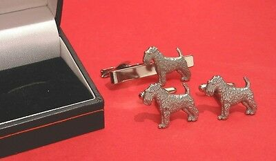 Airedale Terrier Motif Cuff-Link & Tie Clip Set NEW Man's Gift Dad Airedale Gift