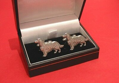 Irish Setter Dog Pewter Cufflinks BOXED Fathers Fashion Xmas Irish Setter Gift