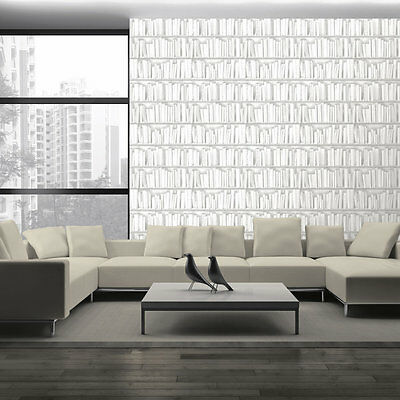 3D Effect White Library Books Bookcase Luxury Feature Vinyl Wallpaper J43090