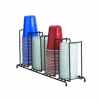 Black DISPENSE-RITE 4-Section Wire Rack Cup & Lid Organizer WR-4