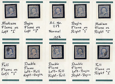 US # 219v (1890) Used 1c EFO: 'Candle Flame' collection of 12 { 2 Very Scarce'}