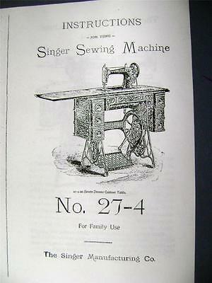 Singer Treadle Sewing Machine Manual No. 27-4 (1905) 17 pages - Free Shipping !