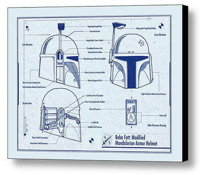 Framed Star Wars Boba Fett Helmet 8.5X11 Inch Schematics Diagram Blueprint Plans