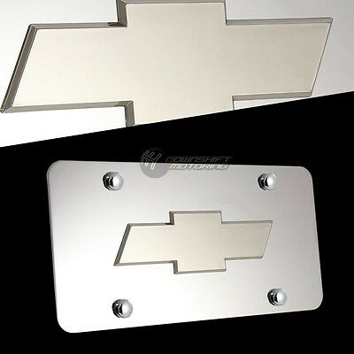 3D Silver CHEVY Logo Front Mirror Stainless Steel License Plate Frame with 4 Cap